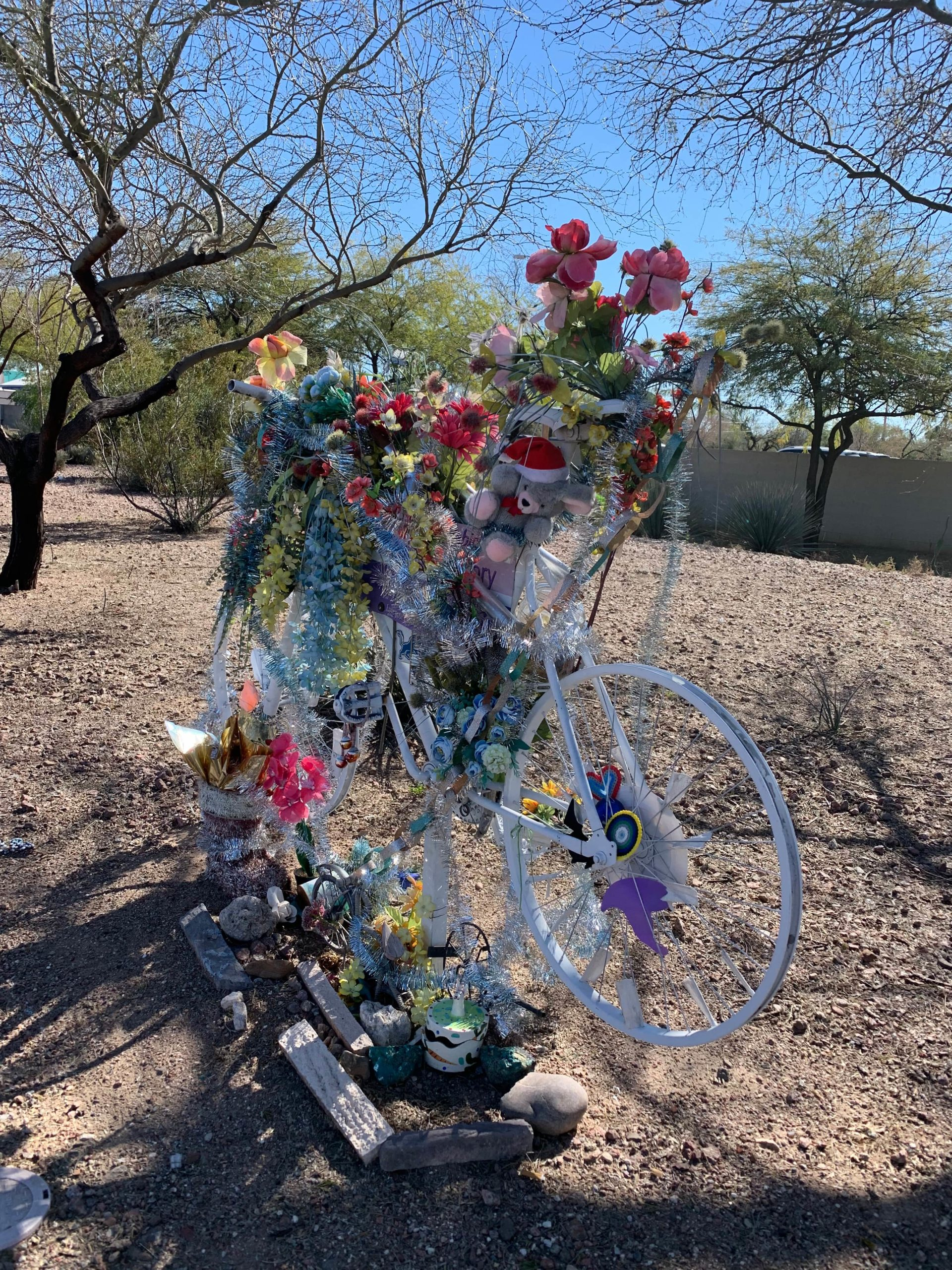 """White """"Ghost Bikes"""" are memorials for cyclists that have been hit and killed by automobiles"""